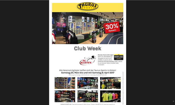 CLUB WEEK TAURUS SPORTS KLOTEN